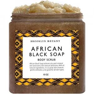 Brooklyn Botany African Black Soap Body Scrub 10 oz - Shea Butter & Coconut Oil - Eczema Soap Acne..