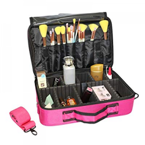 Lovinland Makeup Train Case Cosmetic Bag Organizer Portable Artist Storage Bag with Shoulder Strap..