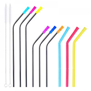6 Pack Stainless Steel Straws with Tips and 3 Pack Silicone Collapsible Straws for 30oz/20oz Tumbl..