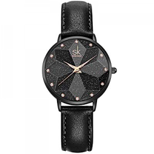 40.0% off SHENGKE Creative Starry Star Women Watch with Stainless Steel Mesh Band Genuine Leather ..