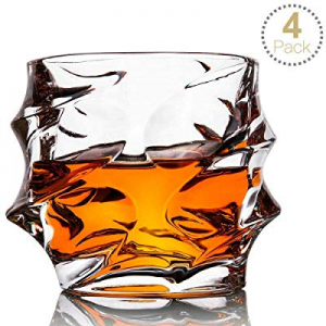 Whiskey Glass Set of 4 Rocks Style now 50.0% off ,TOPLANET Crystal Lead Free Old Fashioned Whiskey..