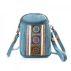 Goodhan Embroidery Canvas Crossbody Bag Cell phone Pouch Coin Purse for Women Girls now 50.0% off
