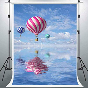 Blue Sky Backdrop now 57.0% off , Hot Air Balloon, EARVO 5x7ft Photography Background, Baby Shower..
