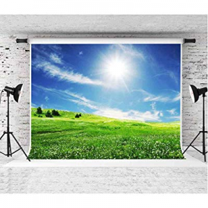 55.0% off EARVO Background 7x5ft Spring Backdrop Blue Sky Field Sunshine Photography Background Sp..