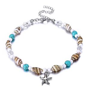 One Day Only!55.0% off Fesciory Women Starfish Turtle Anklet Multilayer Adjustable Beach Alloy Ank..