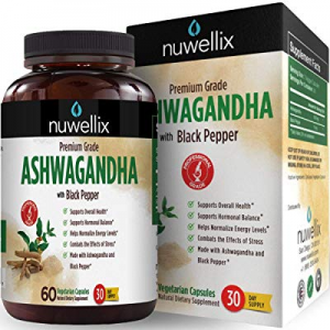 Nuwellix Ashwagandha Capsules with Black Pepper Extract - 1300mg now 20.0% off , Natural Supplemen..