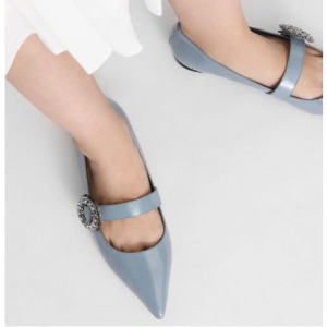 Crushed Gem Effect Buckle Leather Flats @ Charles & Keith