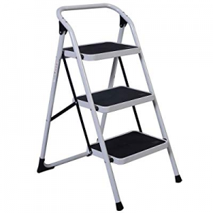 One Day Only!80.0% off Lovinland 3 Step Ladder Folding Ladders Stool with Short Handrail Iron Ladd..