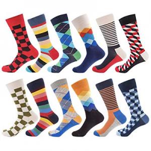 Bonangel Men's Fun Dress Socks-Colorful Funny Novelty Crew Socks Pack,Art Socks now 24.0% off