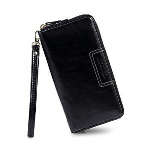 FT Funtor Wristlet Wallet for Women now 50.0% off , Ladies Zip around Wallet PU Vegan Leather Clut..