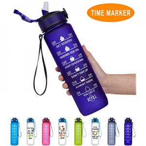 One Day Only!Giotto 32oz/22oz Large Water Bottle with Motivational Time Marker & Straw now 30.0% o..