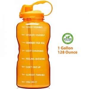 Giotto Large 1 Gallon/128oz Motivational Water Bottle with Time Marker & Straw now 30.0% off , Lea..