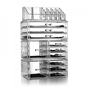 Lovinland Makeup Organizer Set 4 Pcs Plastic Cosmetic Jewelry Display Storage Rack Transparent now..