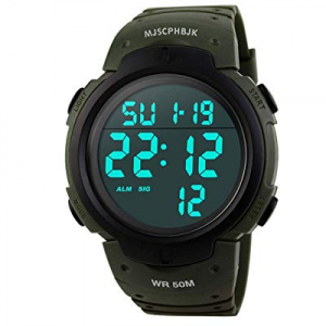 MJSCPHBJK Mens Digital Sports Watch now 15.0% off , Waterproof LED Screen Large Face Military Watc..