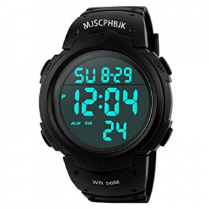 MJSCPHBJK Mens Digital Sports Watch now 10.0% off , Waterproof LED Screen Large Face Military Watc..