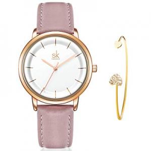 50.0% off SHENGKE Women's Watch Gift Set Quartz Leather Strap Fashion Ladies Watch Ultra Thin Watc..