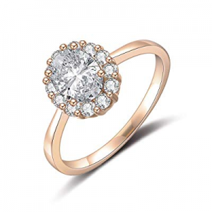 One Day Only!dnswez Rose Gold 4 Ct Oval Cut Halo Cubic Zirconia CZ Solitaire Ring Wedding Band Eng..