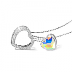 One Day Only!Kemstone 925 Sterling Silver Iridescent Crystal Double Embracing Heart Necklace Jewel..