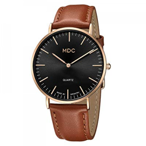 MDC Mens Leather Minimalist Watch now 60.0% off , Ultra-Thin Classic Casual Dress Wrist Watches fo..