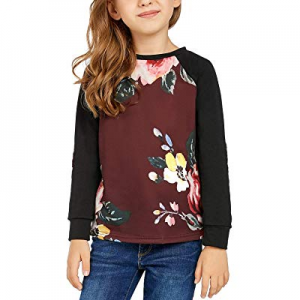 Utyful Girls Casual Patchwork Long Sleeves Pullover Floral Print Sweatshirt Tops now 70.0% off