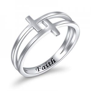 One Day Only!Inspirational Jewelry Sterling Silver Engraved Faith Double Cross Ring Christian Fash..