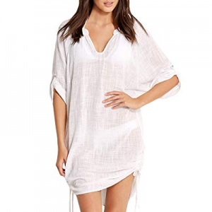 ACKKIA Women's Roll Up Sleeve Drawstring Ruched Swimsuit Cover Up Beach Wear now 60.0% off