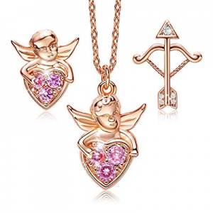 70.0% off CDE 18K Rose Gold Plated ''God of Cupid Jewelry Set for Women Sterling Silver Heart Neck..
