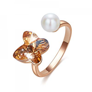 70.0% off CDE Rose Gold Ring for Women Butterfly Open Rings Adjustable Embellished with Crystals f..