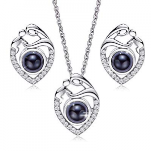 50.0% off CDE S925 Sterling Silver I Love You 100 Languages Necklace Sets Gifts for Women CZ Diamo..