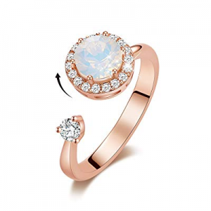 50.0% off CDE 18K Rose Gold Plated Ring Rotating Birthstone Embellished with Crystals from Swarovs..