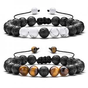 50.0% off Hamoery Men Women 8mm Lava Rock Aromatherapy Anxiety Essential Oil Diffuser Bracelet Bra..