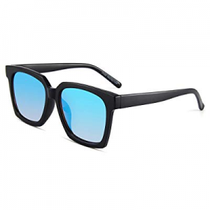 Classic Square Sunglasses for Women PARZIN Mirrored Men UV400 Protective Shades with Glasses Case ..