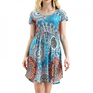 HUALAIMEI Women's Short Sleeve Midi Dresses Floral Printed Long Tunic with Pockets now 30.0% off