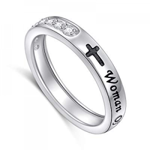 One Day Only!Inspirational Jewelry Sterling Silver Faith Hope Love Sideways Cross Ring Easter Gift..