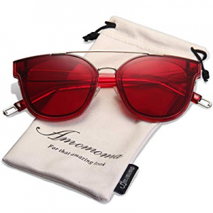 One Day Only!AMOMOMA Fashion Oversized Mirrored Sunglasses for Women Double Bar Shades AM2028 now ..