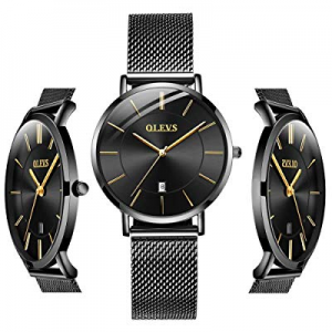 One Day Only!20.0% off OLEVS Men Women Analog Quartz Business Watch Stainless Steel Classic Waterp..