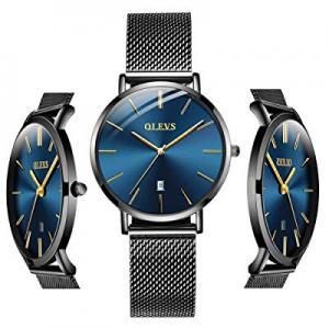 20.0% off Inexpensive Blue Watches - OLEVS Men Women Analog Quartz Business Watch Stainless Steel ..