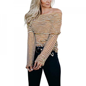 Eshavee Womens Off The Shoulder Striped Long Sleeve Tops Blouses now 50.0% off