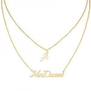 Jecivila Custom Name Necklace Personalized now 80.0% off ,Heart Pendant Layered Customized Namepla..