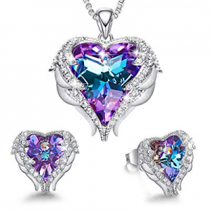 One Day Only!50.0% off CDE Angel Wing Heart Necklaces and Earrings Embellished with Crystals from ..