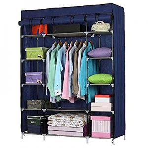 One Day Only!80.0% off Portable Closet Wardrobe 5 Layer Clothes Organizer Metal Shelf Cabinet with..