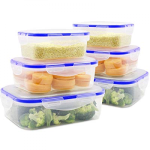 One Day Only!MEAUOTOU Food Storage Containers, BPA Free Plastic Container Set for Kicthen, 6pcs no..