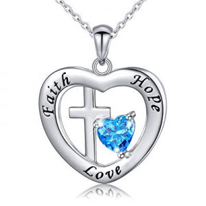 "One Day Only!Sterling Silver Engraved Faith Hope Love Inspirational Cross Love Heart Necklace, 18"".."