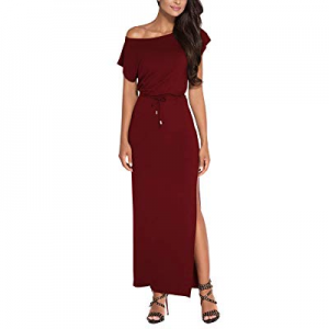 One Day Only!Meenew Women's Tie Waist Fitted High Slit One Off Shoulder Summer Maxi Dress now 10.0..