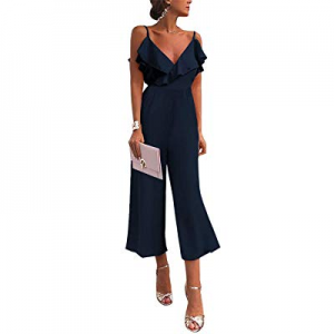 One Day Only!GRAPENT Women Straps Off Shoulder Ruffle High Waist Long Wide Leg Pants Jumpsuit now ..