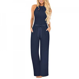 One Day Only!II ININ Women's Halter Neck Sleeveless Long Jumpsuit Loose Belted Pants with Pocket n..