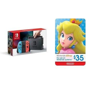 Nintendo Switch 红蓝版 / 灰色版 套装 @ Amazon