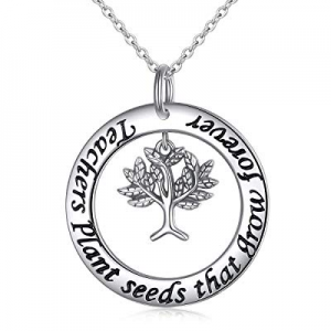 One Day Only!S925 Sterling Silver Teacher Appreciation Gifts Necklace Engraved Teacher Plants Seed..