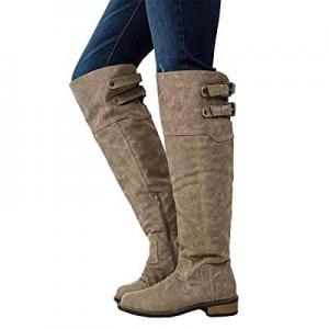 YOMISOY Womens Over the Knee Riding Boots Casual Low Heel Strap Suede Thigh High Boots Shoes now 5..