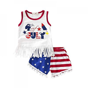 71.0% off 4th of July Baby Girl Outfit Toddler Girl Summer Clothes Sleeveless Vest Tops Tassel Sho..